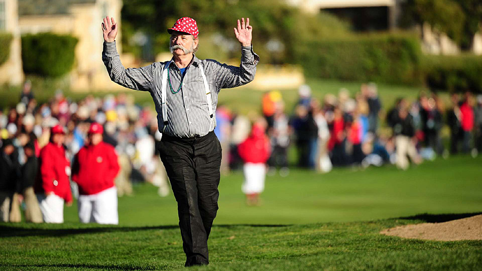 Bill Murray entertains the crowd at the AT&T Pebble Beach National Pro-Am.