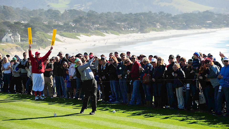 Bill Murray tees off at Pebble Beach during his annual appearance at the AT&T Pebble Beach National Pro-Am.