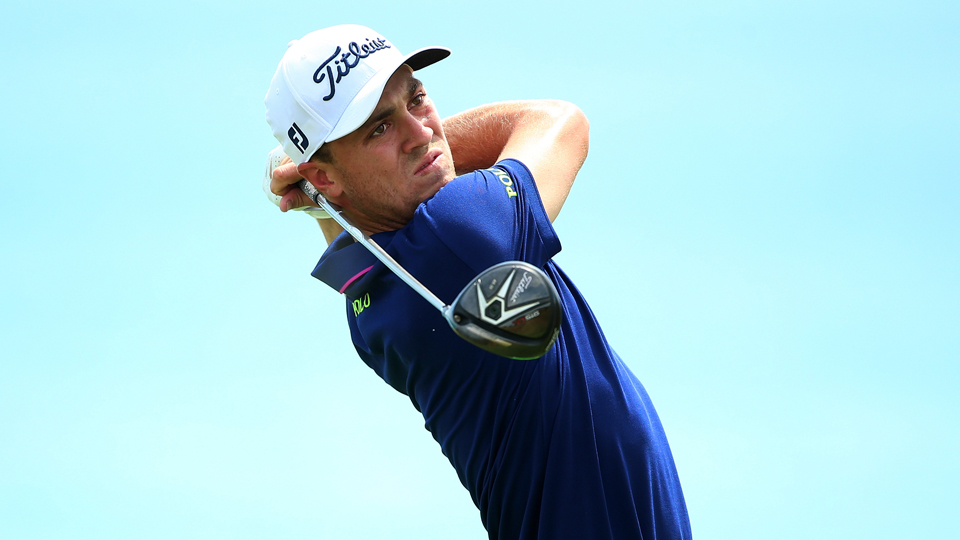 Justin Thomas watches his tee shot on the fifth hole during the final round of the 2015 PGA Championship at Whistling Straits on Aug. 16, 2015, in Sheboygan, Wisconsin.