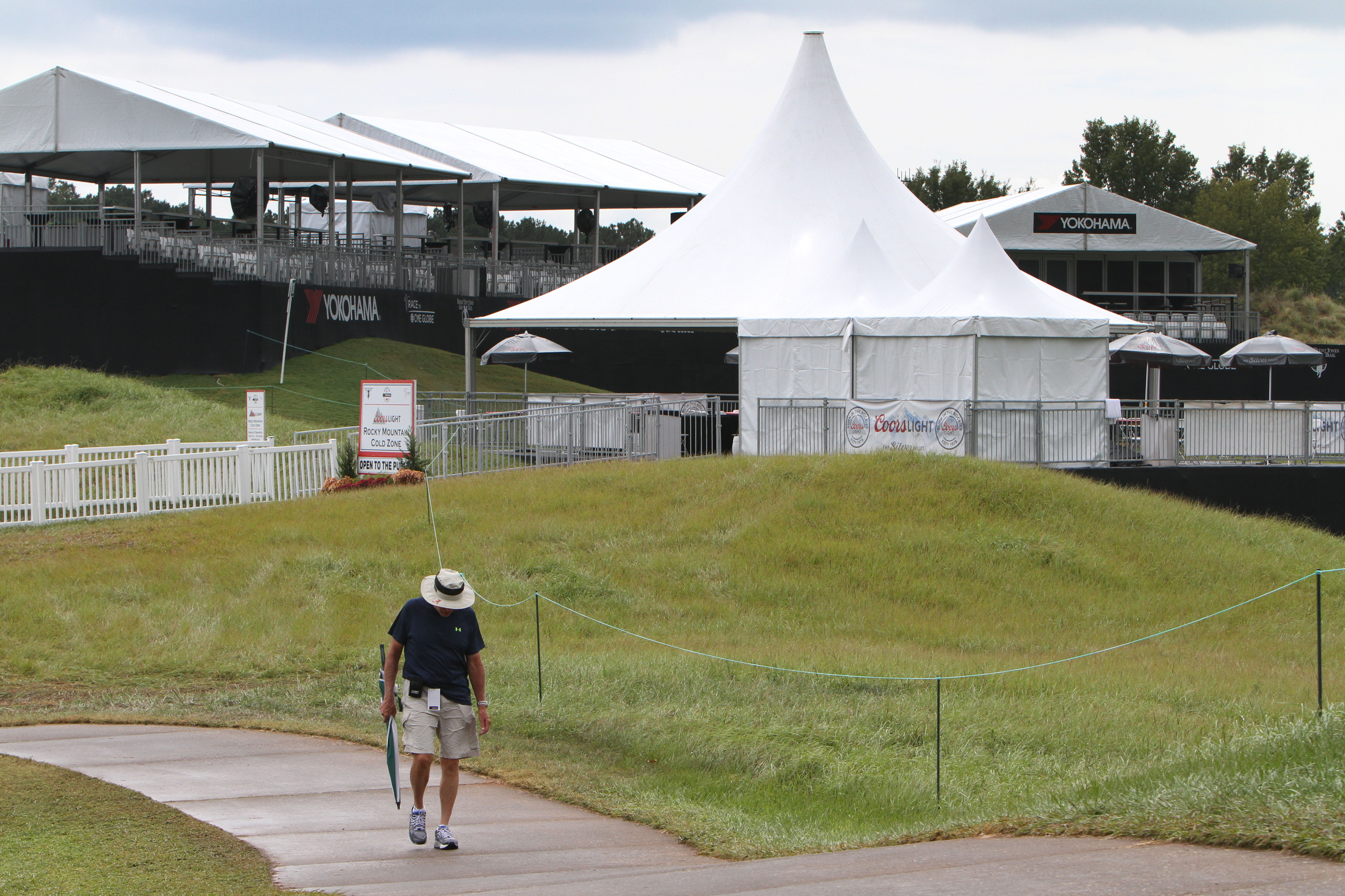 An empty 18 green and gallery after play was suspended at the Yokohama LPGA Tire Classic.