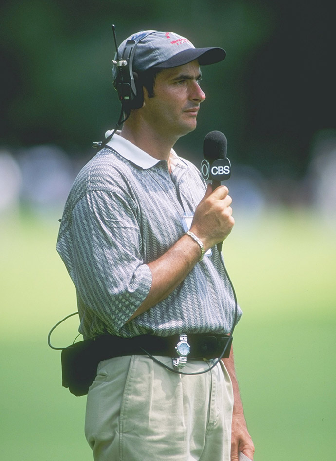 CBS Sports commentator David Feherty looks on during the 1996 PGA Championship at the Valhalla Golf Course in Louisville, Kentucky.