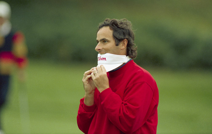 Northern Irish golfer David Feherty competes in the U.S. Open at Pebble Beach Golf Links in Pebble Beach, California, 1992.