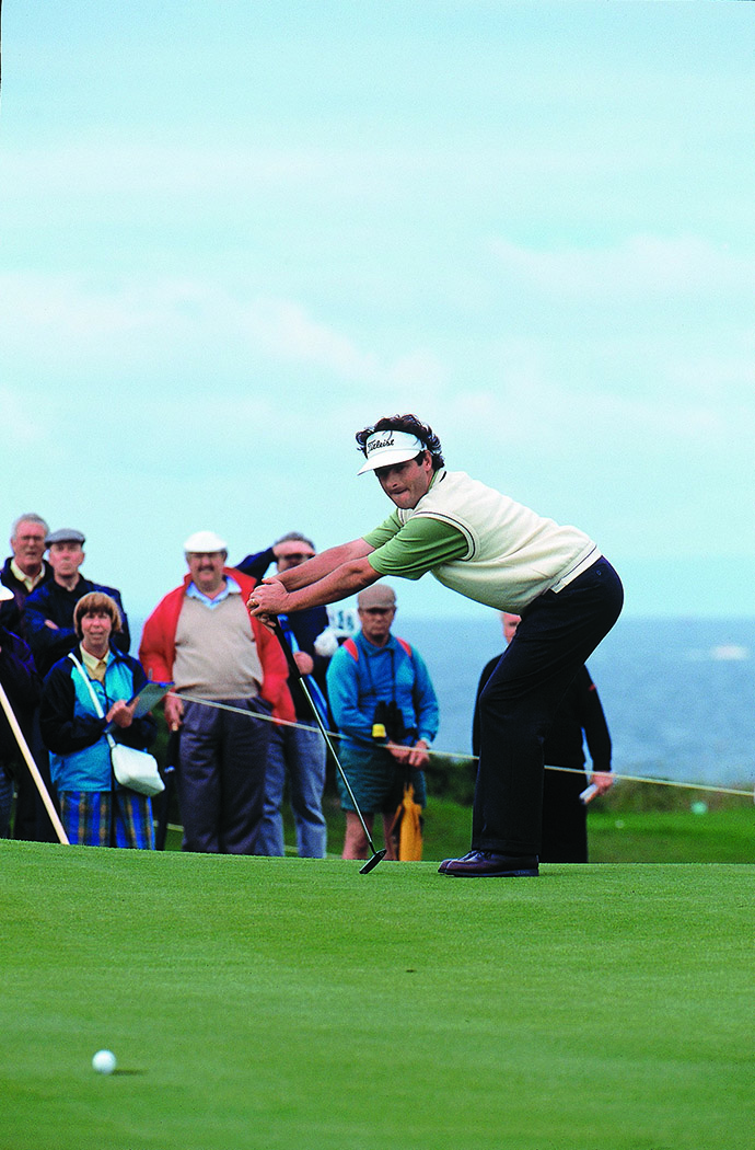 David Feherty in action during the 1994 British Open at Turnberry, Scotland.
