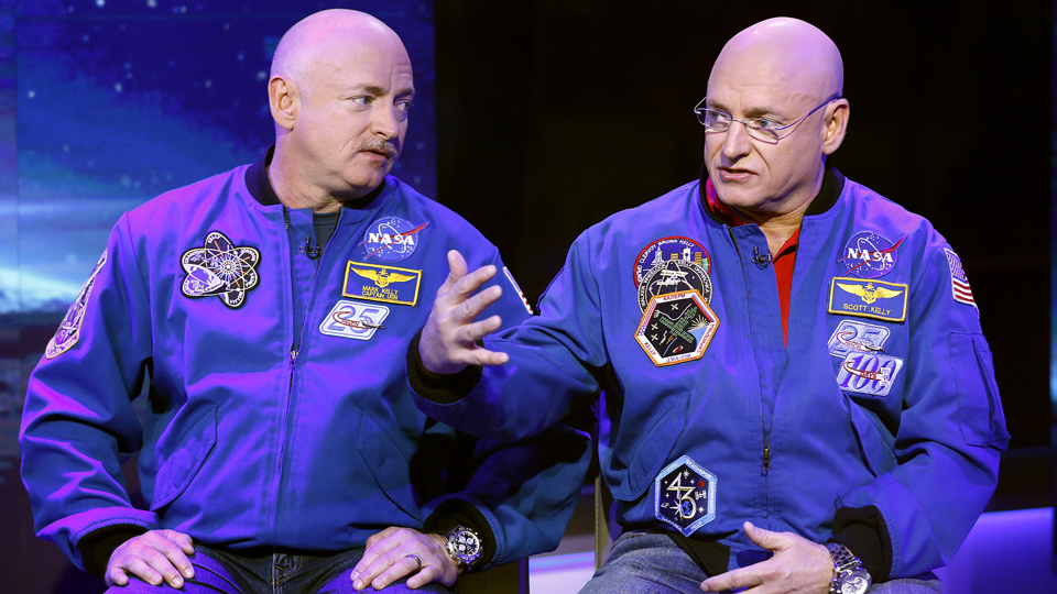 "Mark Kelly (left) and identical twin Scott Kelly appear on ""Today"" Show in 2014."