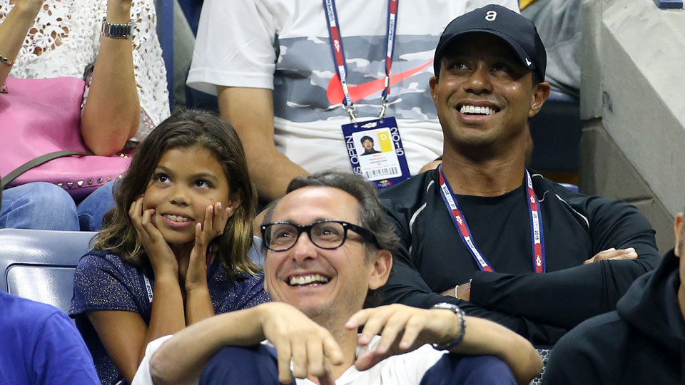 tiger woods watches u s  open tennis match with daughter