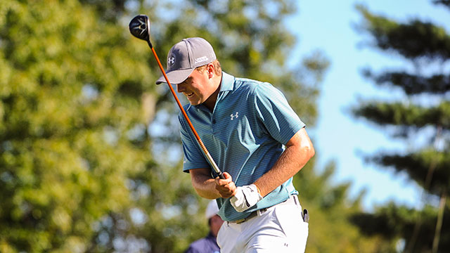 Jordan Spieth reacts to his tee shot on the 10th hole during the second round of the Deutsche Bank Championship at TPC Boston on September 5, 2015 in Norton, Massachusetts.