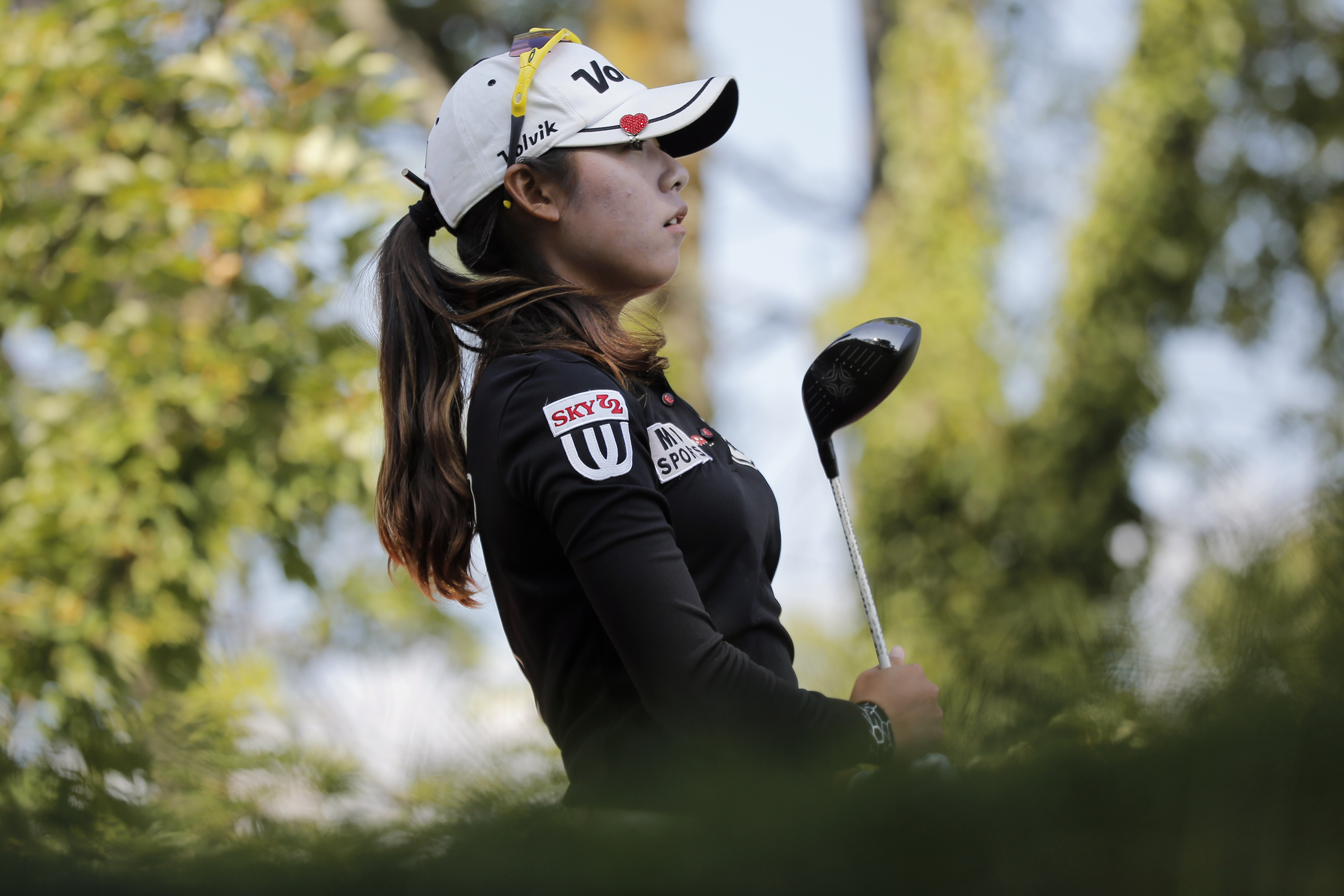 Mi Hyang Lee of South Korea follows her shot on the 15th hole during the second round of the Evian Championship.