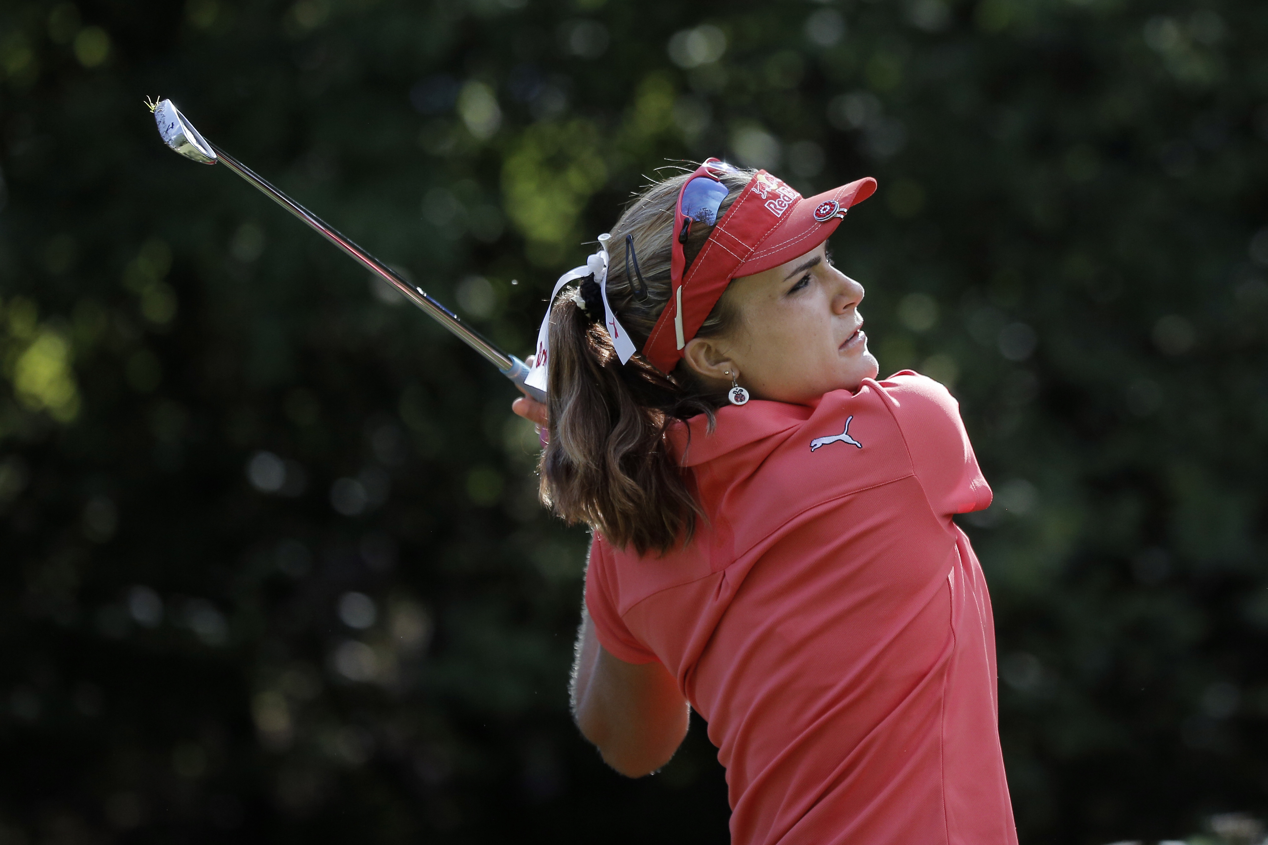 Lexi Thompson plays the third hole during the third round of the Evian Championship in eastern France Saturday, Sept. 12, 2015.