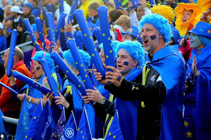 Fans of Team Europe during day one of the 2015 Solheim Cup 2015 at St Leon-Rot Golf Club.