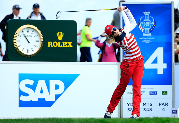 Paula Creamer tees off on the 14th hole during the Friday morning foursomes.