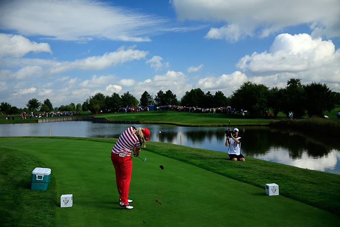 Brittany Lincicome of the United States tees off on the 12th hole during the Friday foursomes matches.