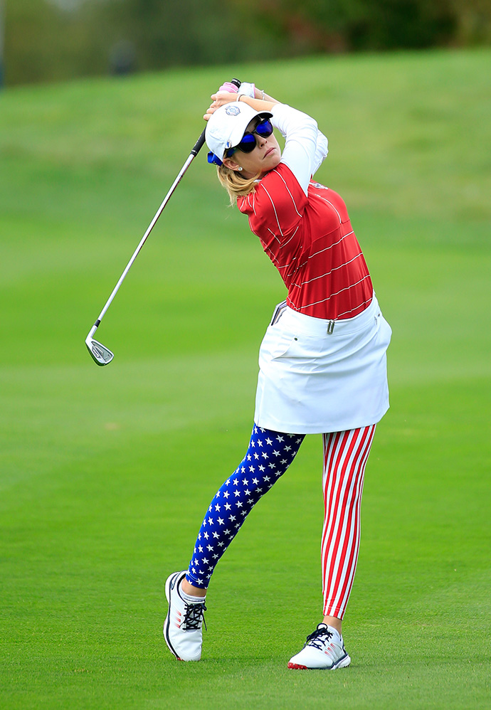 Paula Creamer of the United States plays her second shot at the 8th hole during the Friday afternoon fourball matches.