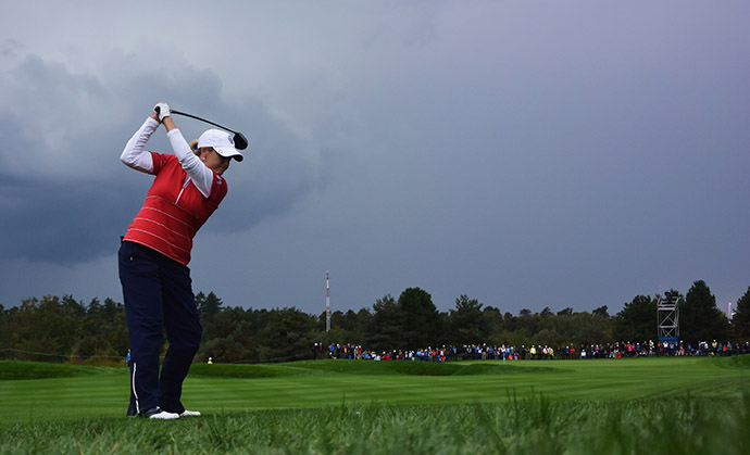 Cristie Kerr of Team USA during the afternoon fourball matches. Matches were suspended for a few hours due to rain.