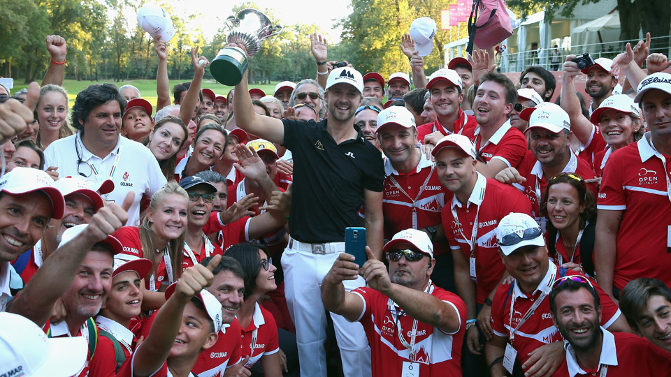 Rikard Karlberg of Sweden poses with the trophy after winning the 72nd Open d'Italia at Golf Club Milano on Sept. 20, 2015, in Monza, Italy.