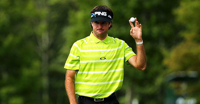 Bubba Watson of the United States reacts after a put on the sixteenth tee during round one of the 2015 Deutsche Bank Championship.