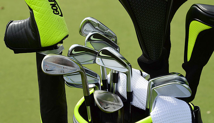 Paul Casey has his initials custom-stamped into his Nike irons.