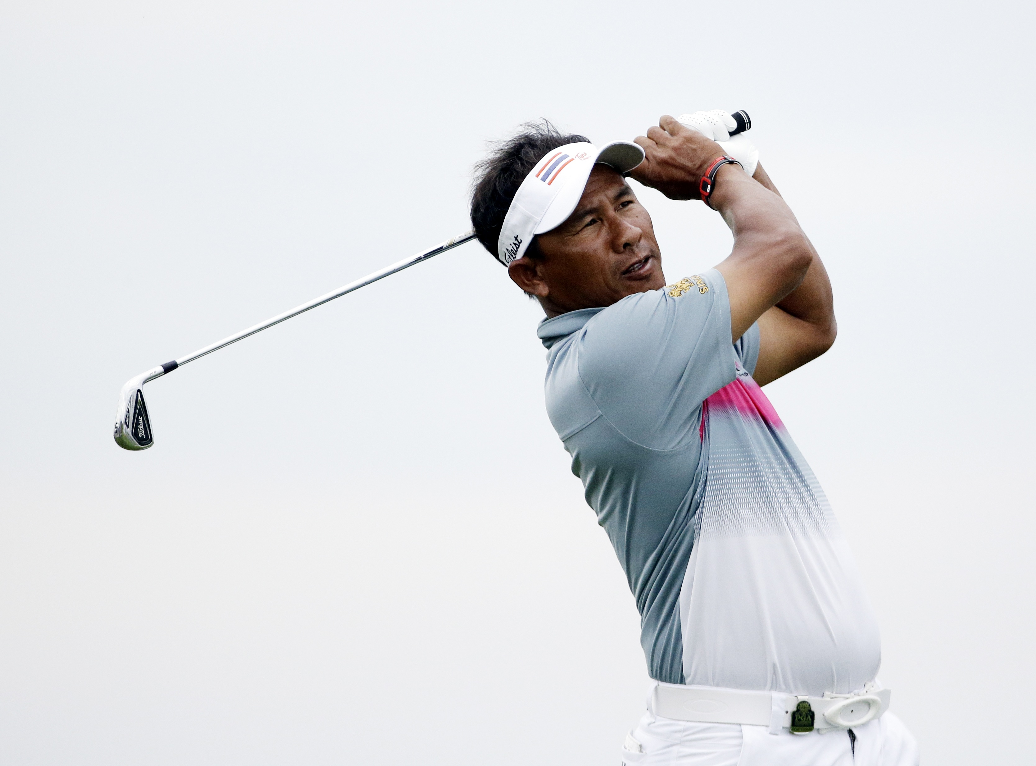 Thongchai Jaidee, of Thailand, on the third hole during the first round of the PGA Championship golf tournament Thursday, Aug. 13, 2015, at Whistling Straits in Haven, Wis. (AP Photo/Brynn