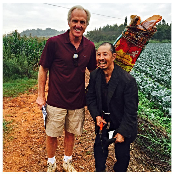 Enjoying time with a very friendly happy-go-lucky local farmer here in Kunming #china as @GNGCD lays out a golf course at 6700 Ft. #spectacular