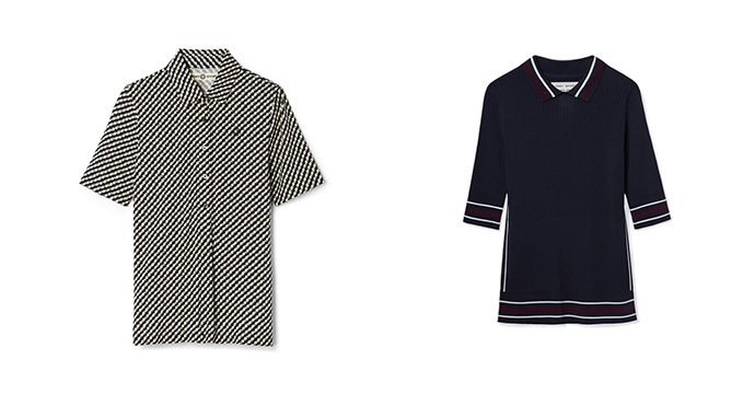 Printed Mercerized Cotton Polo, $115; Tech-Knit Ribbed Polo, $165