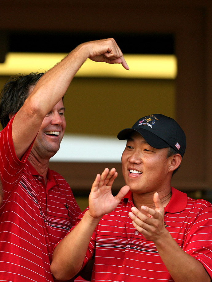 Captain Paul Azinger celebrates with Anthony Kim after the USA's 16 1/2 - 11 1/2 2008 Ryder Cup victory over Europe.