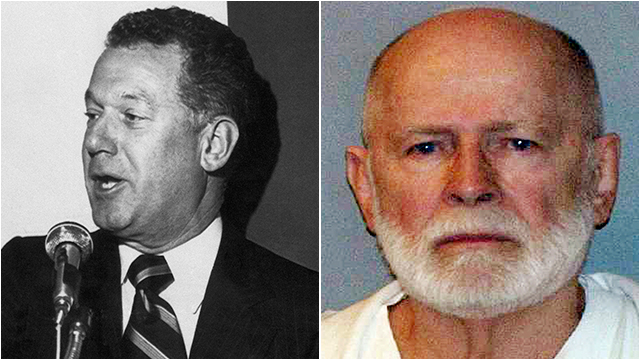 The victim (left) and Bulger, the mob boss, today.