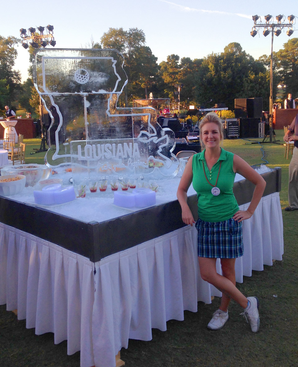 Author Jessica Marksbury enjoys the festivities after her first practice round at the Women's Mid-Am.