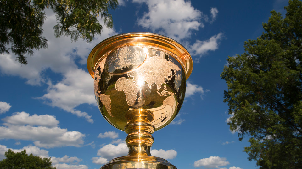 The Presidents Cup trophy awaits the 2015 champions.