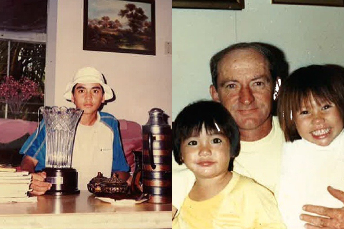Jason showed golf talent as a kid in Australia (left); with his father Alvin and sister Kimmy (right).