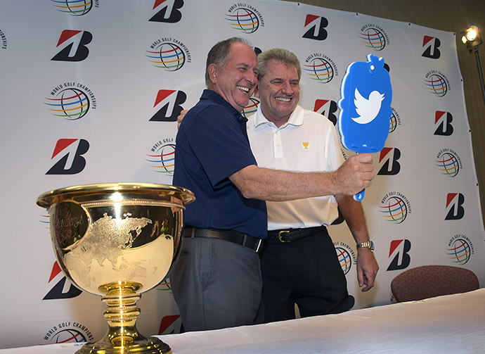 Presidents Cup U.S. Team Captain Jay Haas and International Team Captain Nick Price pose for a photo on Twitter following a media interview at the World Golf Championships-Bridgestone Invitational at Firestone Country Club on August 4, 2015 in Akron, Ohio