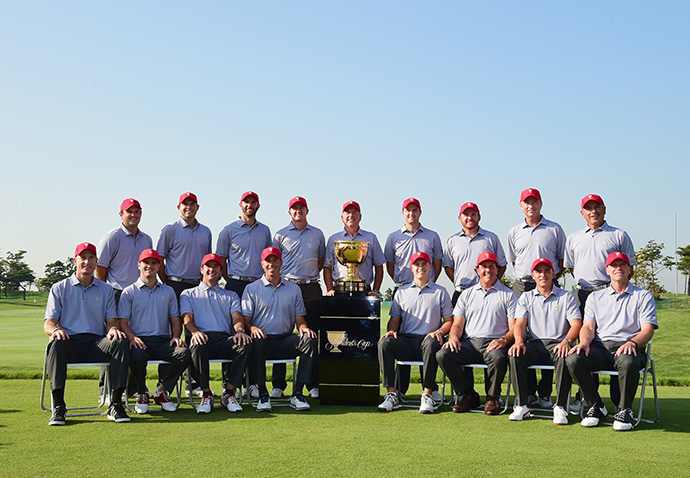 (T L-R) Patrick Reed, Bill Haas, Dustin Johnson, Jimmy Walker, Jay Haas, Chris Kirk, J.B. Holmes, Davis Love III, Fred Couples, (B, L-R) Jim Furyk, Zach Johnson, Bubba Watson, Matt Kuchar, Jordan Spieth, Phil Mickelson, Rickie Fowler, Steve Stricker.