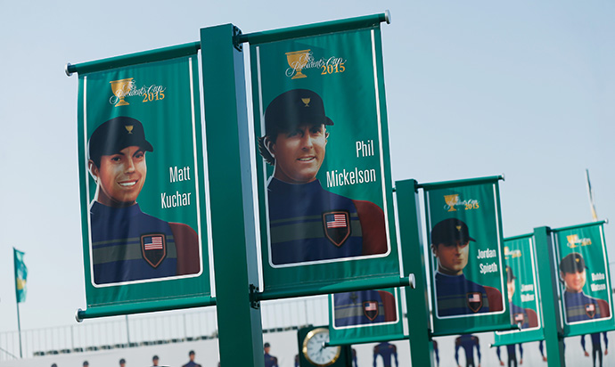 Banners of American Team avatars hang near the clubhouse.