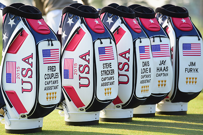The golf bags of five captains of the United States team are seen during a practice round.