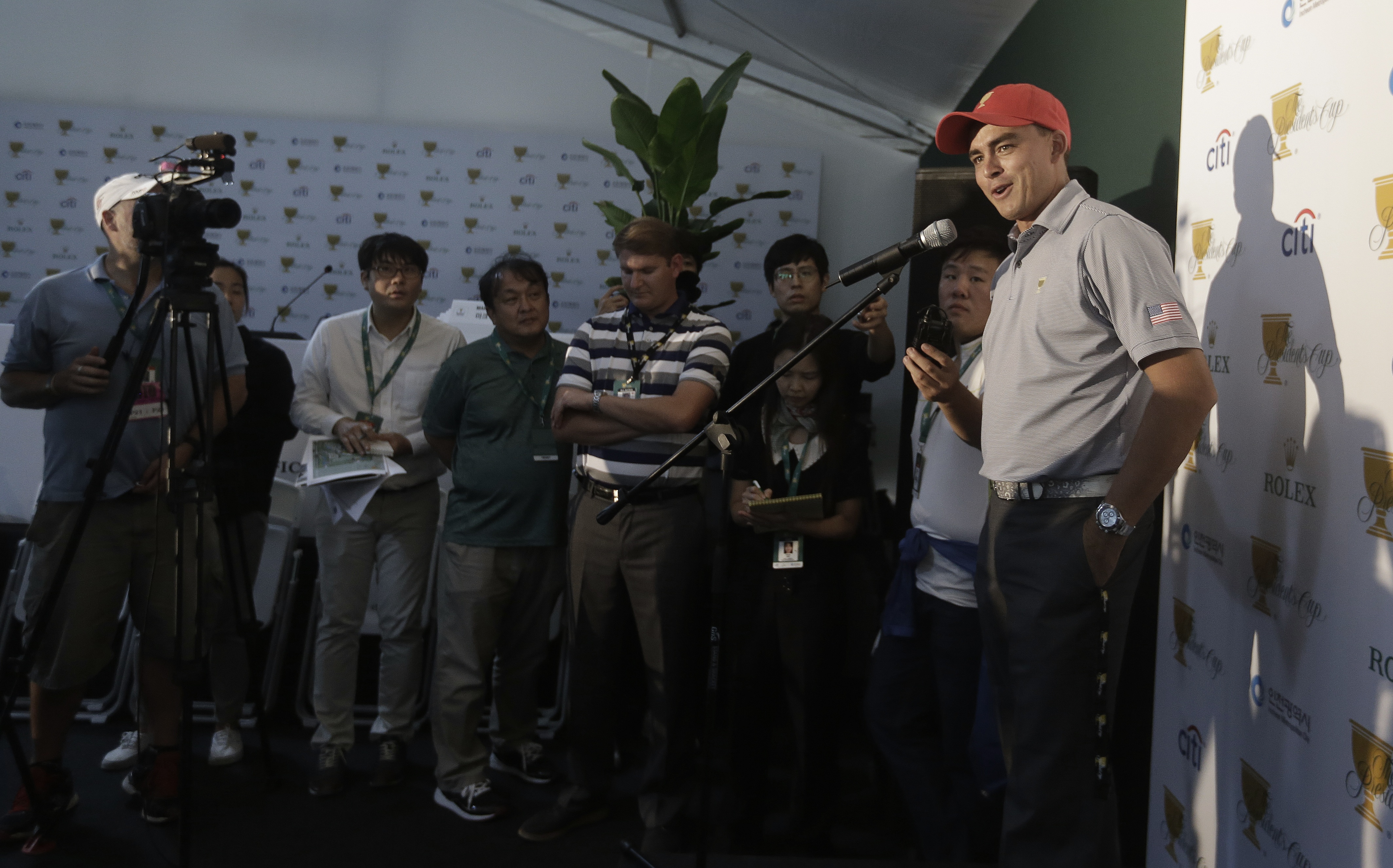 United States team player Rickie Fowler speaks during a news conference ahead of the Presidents Cup golf tournament at Jack Nicklaus Golf Club Korea in Incheon, South Korea, Tuesday, Oct. 6, 2015. (AP Photo/Ahn