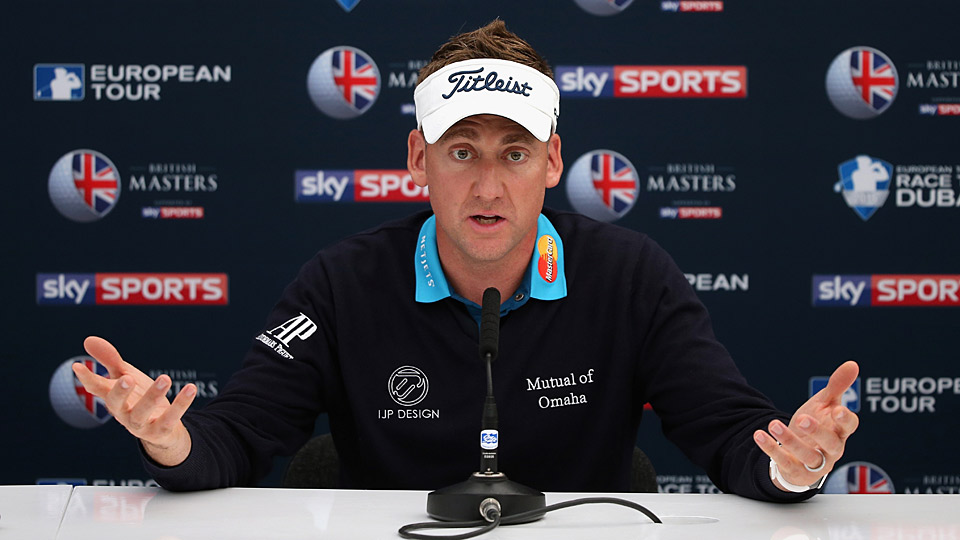 Ian Poulter speaks with the media prior to the start of the 2015 British Masters.