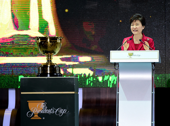 South Korean President Park Geun-Hye speaks during the opening ceremony of the 2015 Presidents Cup.