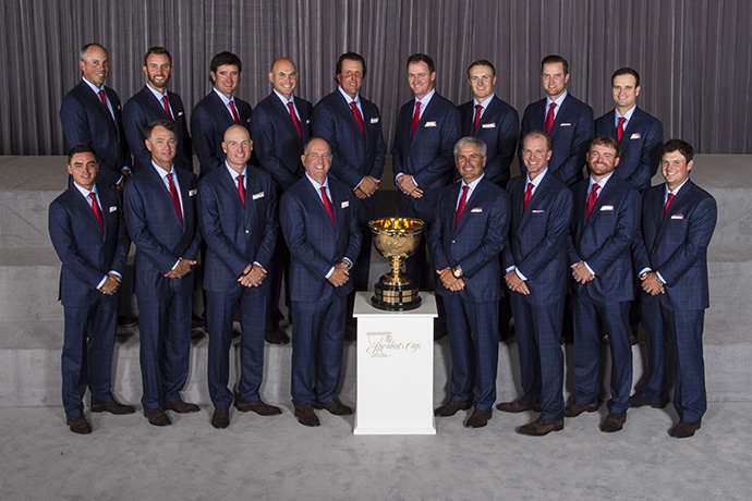 Members of Team USA pose for a formal group portrait during The Presidents Cup Opening Ceremony.