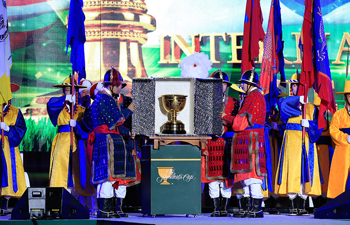 The Presidents Cup is unveiled on stage during the opening ceremony of the 2015 Presidents Cup.