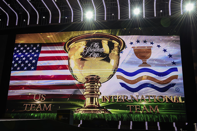 Team USA and International Team members are introduced during The Presidents Cup Opening Ceremony at Songdo Convensia.