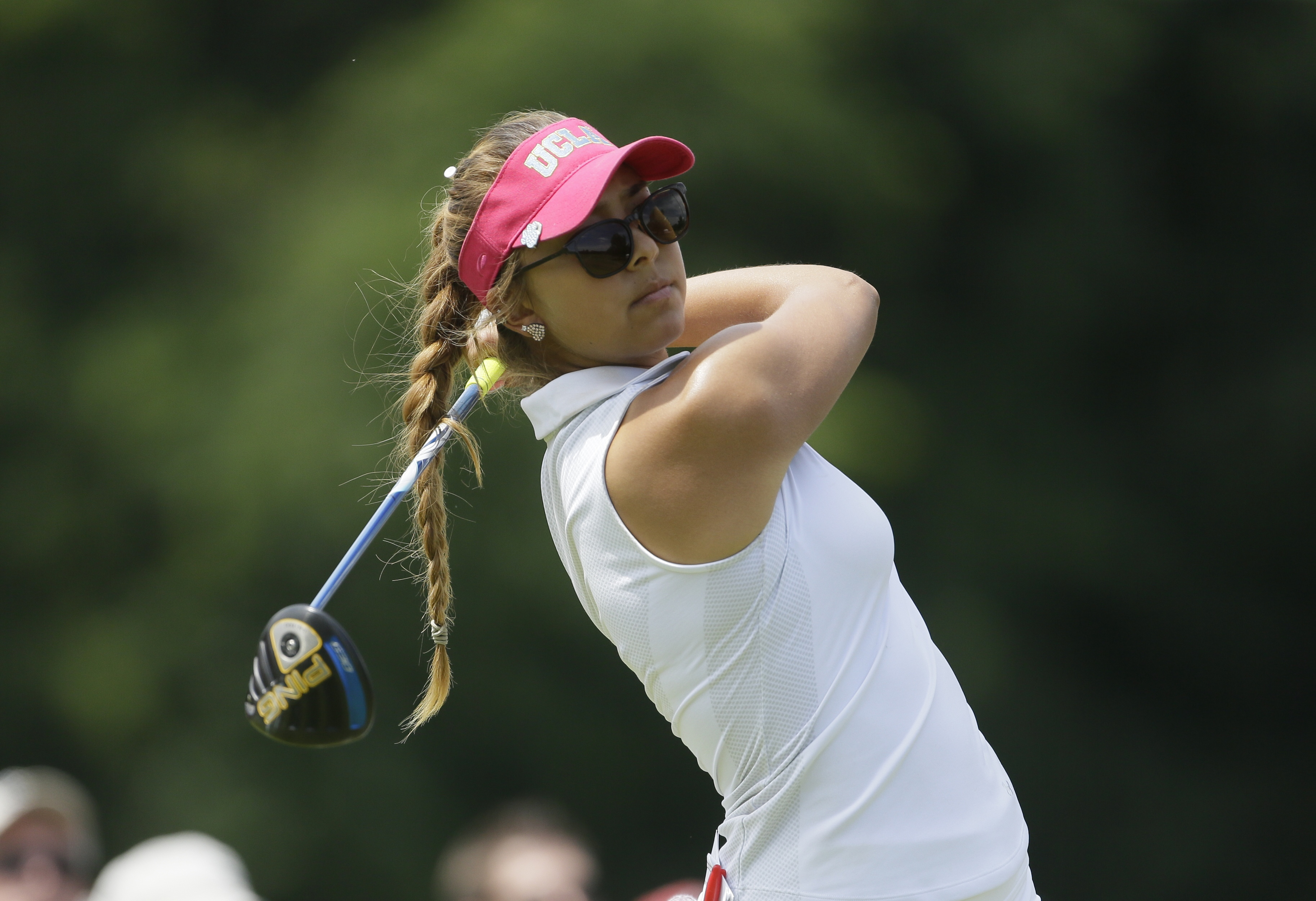 Alison Lee drives on the 16th hole during the final round of the Meijer LPGA Classic golf tournament at Blythefield Country Club, Sunday, July 26, 2015 in Belmont, Mich. (AP Photo/Carlos