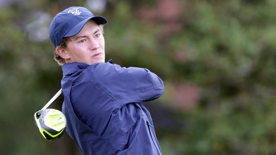 Maverick McNealy watches his ball during the 2015 Walker Cup at Royal Lytham and St Annes Golf Club on Sept. 12, 2015, in Lytham St Annes, England.