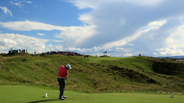 Francesco Molinari of Italy tees off on the 14th hole during the first round of the 2012 Irish Open held on the Dunluce Links at Royal Portrush Golf Club on June 28, 2012 in Portrush, Northern Ireland.
