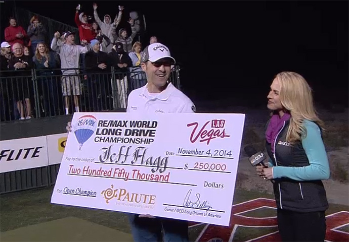 Jeff Flagg won the 2014 World Long Drive Championship by just 13 inches.