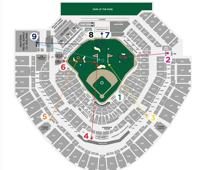 A map of Petco Park illustrates how the nine-hole course will play out.
