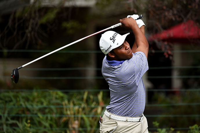 Rookie Harold Varner III plays his shot from the fifth tee during Day 3.