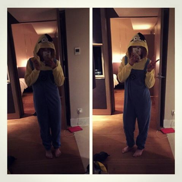Minion onesie. Love it Love it Love it... Thanks so much again @paulacreamer1 #SoComfy #MinionMe #Banana