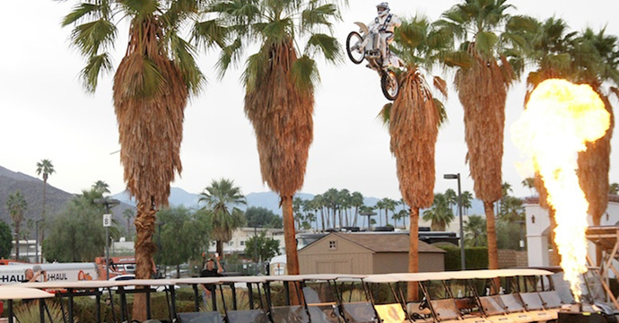 Robbie Knievel soars above 30 golf carts sitting in front of the Spa Resort Casino in downtown Palm Springs.