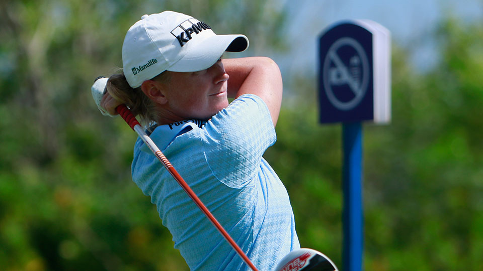 Stacy Lewis of United States tee off at 12th green in round 3 on Day 6 of Blue Bay LPGA 2015 at Jian Lake Blue Bay golf course on October 31, 2015 in Hainan Island, China