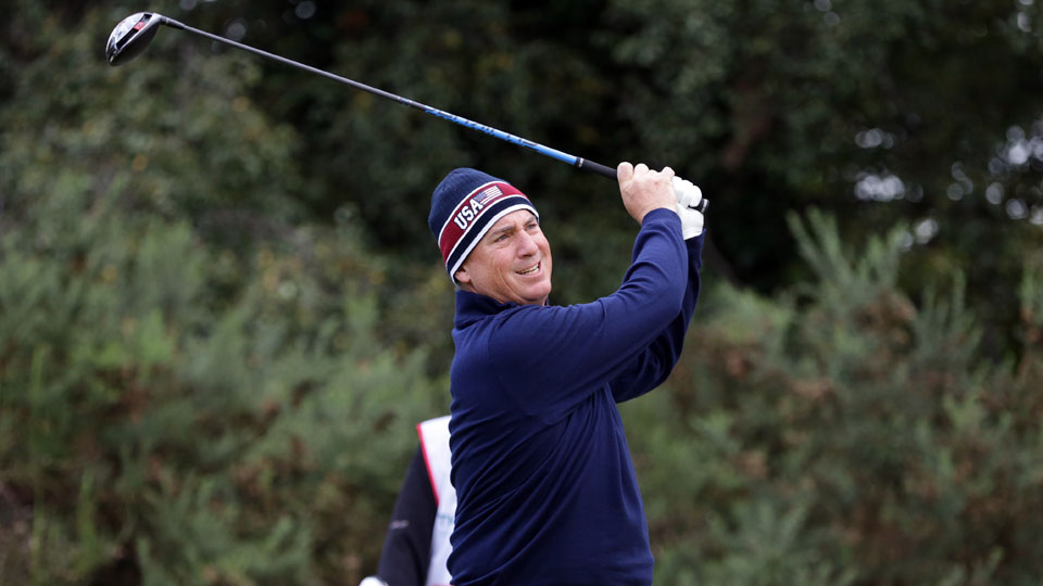 Mike McCoy of the United States Walker Cup Team plays a tee shot during day two of the 2015 Walker Cup at Royal Lytham and St Annes Golf Club on September 13, 2015 in Lytham St Annes, England.
