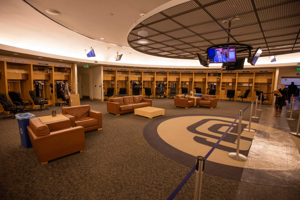 A view of the Padres home clubhouse at Petco Park.