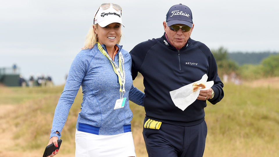 Natalie Gulbis with coach Butch Harmon at the 2015 U.S. Open at Chambers Bay.